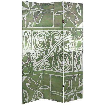 Oriental Furniture 6 ft. x 4 ft. 3-Panel Double Sided Green Oliva Canvas Room Divider