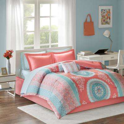 Eleni 9-Piece Coral Queen Bed in a Bag Set