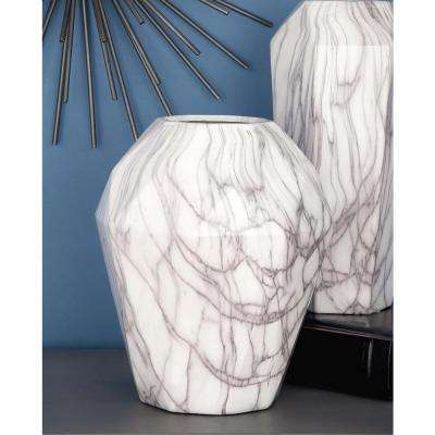 12 in. White and Gray Marble Paneled Decorative Vase