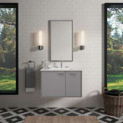 30 in. W Wall-Hung Vanity Cabinet in Mohair Grey with Vitreous China Vanity Top in White Impressions with White Basin