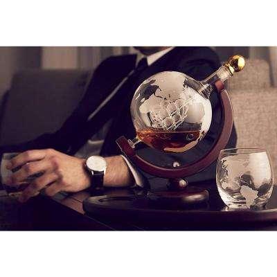 28.74 oz. Globe Crystal Decanter and 2-Piece DOF Whiskey Glass Set