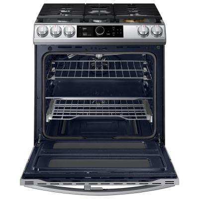 30 in. 6 cu. ft. Flex Duo Slide-in Gas Range with Smart Dial and Air Fry in Fingerprint Resistant Stainless Steel