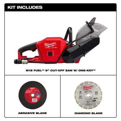 M18 FUEL ONE-KEY 18-Volt 9 in. Lithium-Ion Brushless Cordless Cut Off Saw with Free HIGH OUTPUT 8.0 Ah Battery