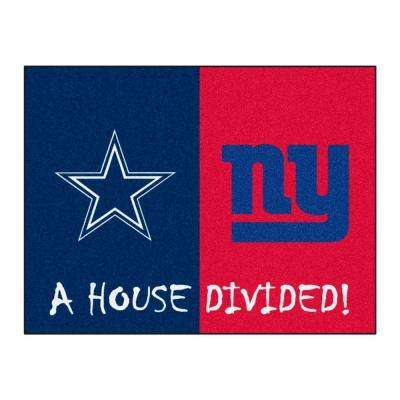NFL Cowboys / Giants Navy House Divided 2 ft. 10 in. x 3 ft. 9 in. Accent Rug