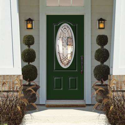 36 in. x 80 in. Chatham 3/4 Oval Conifer Left Hand Inswing Painted Smooth Fiberglass Prehung Front Door w/ Brickmold