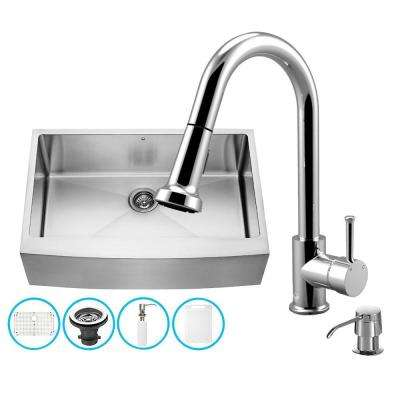 All-in-One Farmhouse Apron Front Stainless Steel 33 in. 0-Hole Single Bowl Kitchen Sink and Faucet Set in Chrome