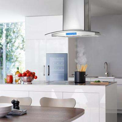 Merveilleux Ducted Island Range Hood In Stainless Steel With LED Lighting And Permanent  Filters