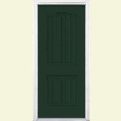 32 in. x 80 in. Cheyenne 2-Panel Painted Smooth Fiberglass Prehung Front Door with No Brickmold