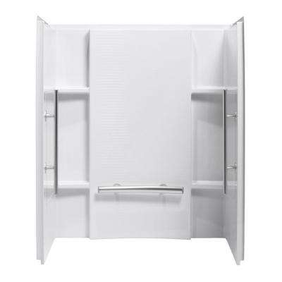Accord 36 in. x 48 in. x 55-1/8 in. 3-Piece Direct-to-Stud Shower Wall Set in White with Nickel Grab Bar