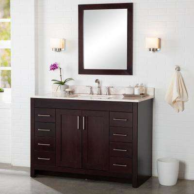Westcourt 49 in. W x 22 in. D Bath Vanity in Chocolate with Stone Effect Vanity Top in Dune with White Sink