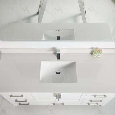 59 in. Bath Vanity 7-Drawer Cabinet with Cultured Top in White with White Basin and Mirror