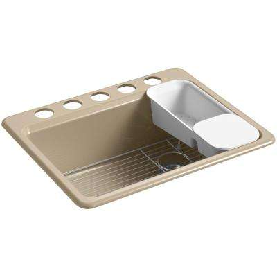 Riverby Undermount Cast Iron 27 in. 5-Hole Single Bowl Kitchen Sink in Mexican Sand