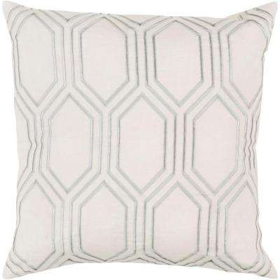 Avalon Ivory Geometric 18 in. x 18 in. Decorative Pillow