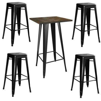 Loft Style Pub Table and Chair Set in Black with Wooden Table Top (5-Piece Set)