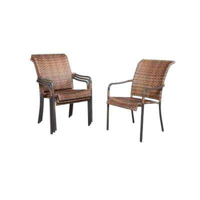 Hampton Bay Manila Bay Commercial Contract Grade Woven Stack Patio Chair (4-Pack)