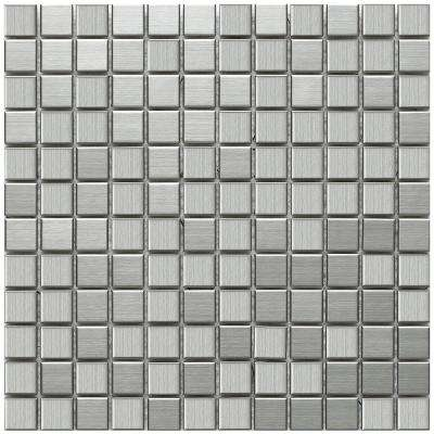 Alloy Square 11-7/8 in. x 11-7/8 in. x 8 mm Stainless Steel Over Porcelain Mosaic Tile