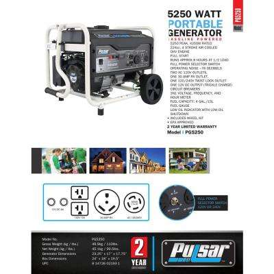 5,250/4,250-Watt Gasoline Powered Recoil Start Portable Generator with 224 cc Ducar Engine