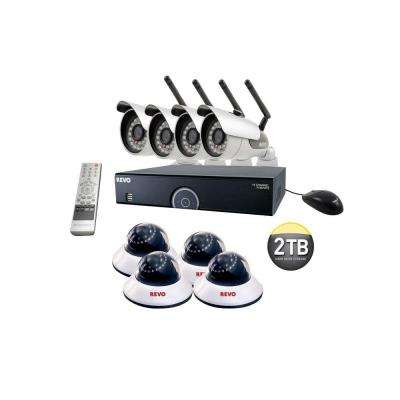 16-Channel 2TB DVR Surveillance System with 4 Wireless Bullet Cameras and 4 Wired Dome Cameras