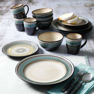 Amberdale 16-Piece Patterned Teal Stoneware Dinnerware Set (Service for 4)