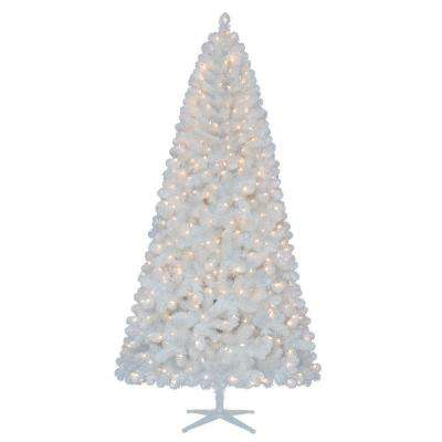 7.5 ft. Pre-Lit LED Glossy White North Hill Spruce Quick-Set Artificial Christmas Tree with Warm White Lights