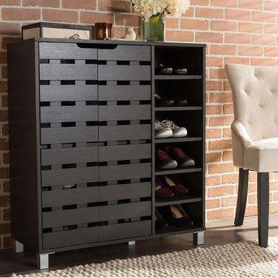 38 in. Shirley Modern and Contemporary Dark Brown Wood 2-Door Shoe Cabinet with Open Shelves