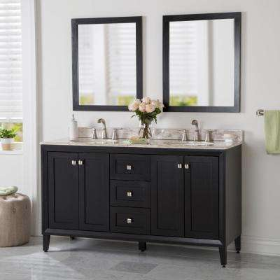Austell 61 in. W x 38 in. H x 22 in. D Vanity in Black with Stone Effects Vanity Top in Winter Mist with White Sink