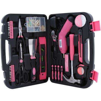 135-Piece Household Tool Kit in Pink