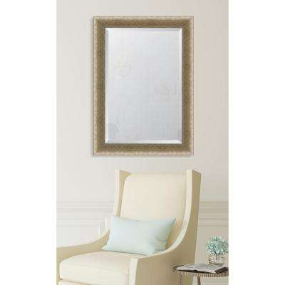 "31 in. x 43 in. Framed 3-1/2"" Slight Concave Silver Crosshatch Resin Frame Mirror"