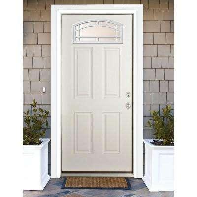 36 in. x 80 in. Cambertop Left-Hand Inswing Primed White Steel Prehung Front Door with 4 in. Wall