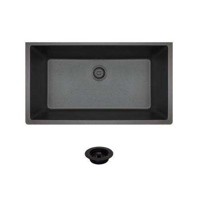 All-in-One Undermount Composite 33 in. Single Basin Kitchen Sink in Black