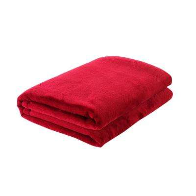 49 in. W x 61 in. L Red Solid Polyester Throw Blanket