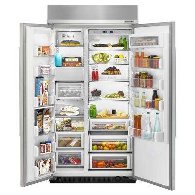 42 in. W 25.5 cu. ft. Built-In Side by Side Refrigerator in Stainless Steel