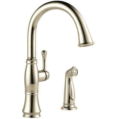 Cassidy Single-Handle Standard Kitchen Faucet with Side Sprayer in Polished Nickel