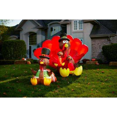 8.5 ft. Wide Inflatable Turkey Family Scene