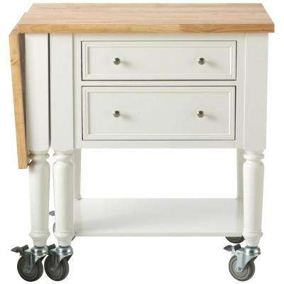 Blaine 51.25 in. W Wood Drop Leaf Kitchen Cart in Picket Fence