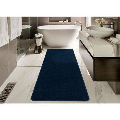 Softy Collection Modern Navy Blue Shag 2 ft. x 8 ft. Runner Rug