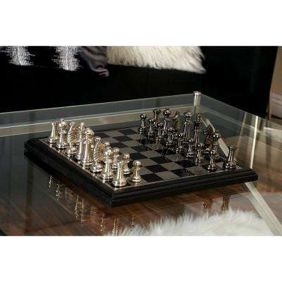 12 in. x 6 in. Gunmetal Gray and Silver Aluminum, Steel, and Wood Chess Set