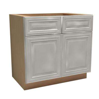 Brookfield Assembled 36x34.5x24 in. Double Door Base Kitchen Cabinet, 2 Drawers & Rollout Tray in Pacific White