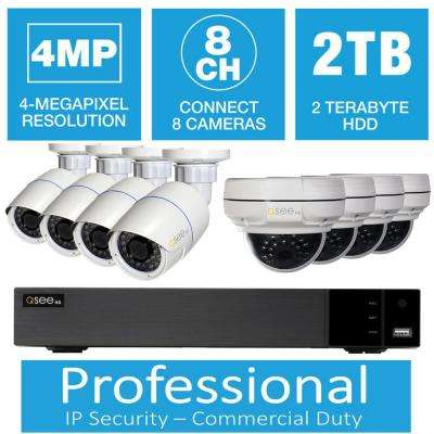 8-Channel 5MP IP Indoor/Outdoor Surveillance 2TB NVR System with (4) 5MP Bullet Cameras and (4) 4MP Dome Cameras