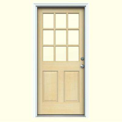 30 in. x 80 in. 9-Lite Unfinished Fir Prehung Front Door with Primed White AuraLast Jamb and Brickmold