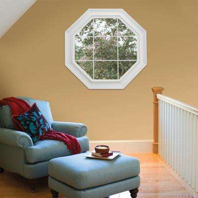 23.5 in. x 23.5 in. V-2500 Series White Vinyl Fixed Octagon Geometric Window with Colonial Grids/Grilles