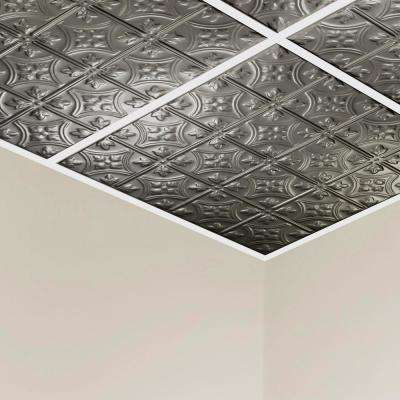 Hamilton 2 ft. x 2 ft. Lay-in Tin Ceiling Tile in Argento (20 sq. ft. / case of 5)