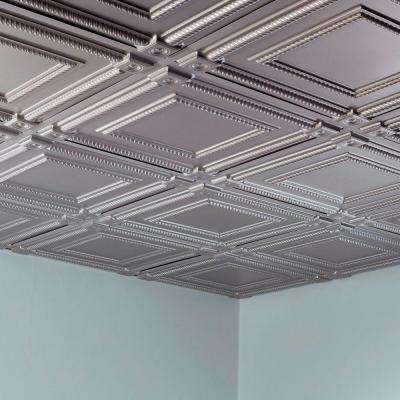 Coffer 2 ft. x 2 ft. Vinyl Lay-In Ceiling Tile in Brushed Aluminum