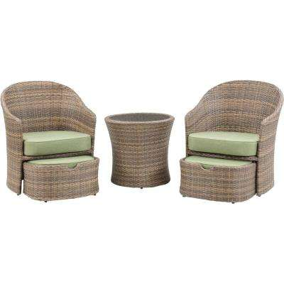 Seneca 5-Piece All-Weather Wicker Patio Chat Set with Cilantro Green Cushions