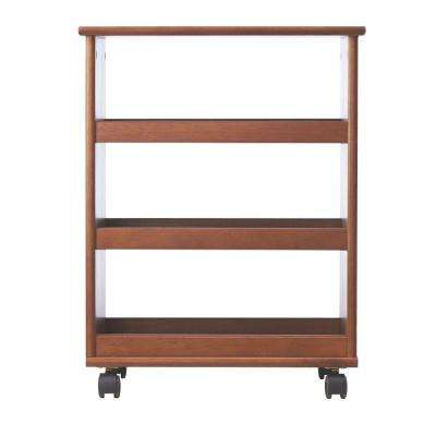 Stanton 20 in. W Multi-Function 3-Shelf Storage Cart in Walnut