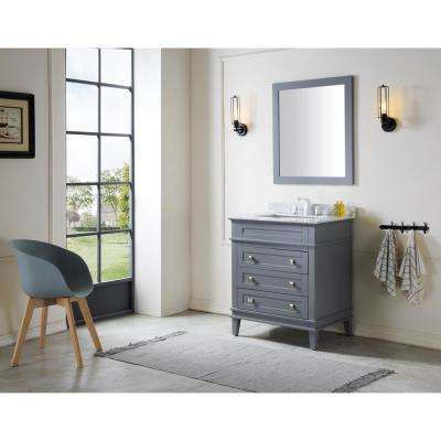 Wineck 30 in. W x 35 in. H Bath Vanity in Gray with Marble Vanity Top in Carrara White with White Basin and Mirror