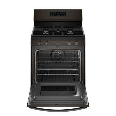 30 in. 5 cu. ft. Gas Range with Fan Convection Cooking in Fingerprint Resistant Black Stainless