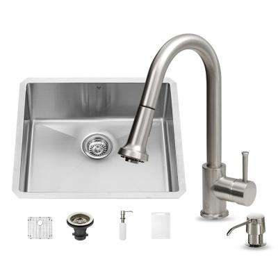 All-in-One Undermount Stainless Steel 23 in. Single Basin Kitchen Sink Set in Stainless Steel