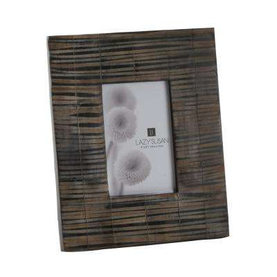 Striped Horn 1-Opening 4 in. x 6 in. Natural Horn And Resin Picture Frame