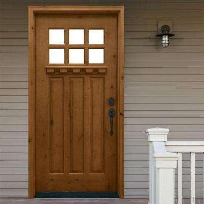 Craftsman 6 Lite Stained Knotty Alder Wood Prehung Front Door
